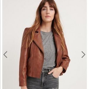 NWT Lucky Brand Puff Sleeve Leather Moto Jacket